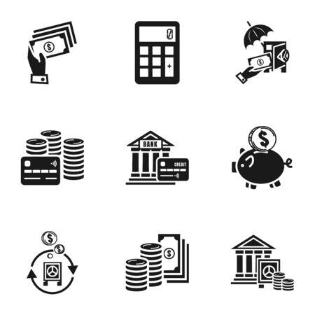 Money icon set. Simple set of 9 money icons for web design isolated on white background