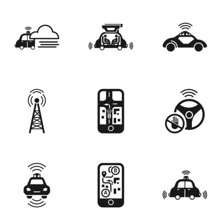 Driverless car icon set. Simple set of 9 driverless car icons for web design isolated on white background 写真素材
