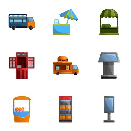 Street kiosk icon set. Cartoon set of 9 street kiosk icons for web design isolated on white background