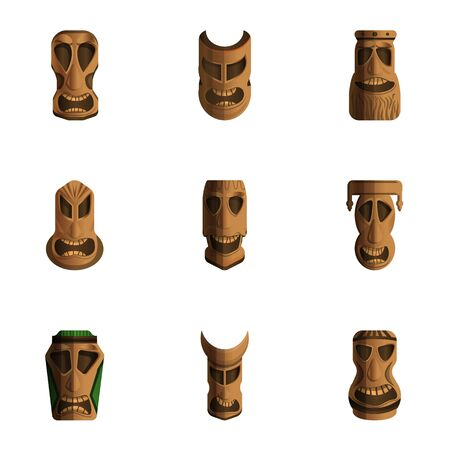 Tiki idols icon set. Cartoon set of 9 tiki idols icons for web design isolated on white background