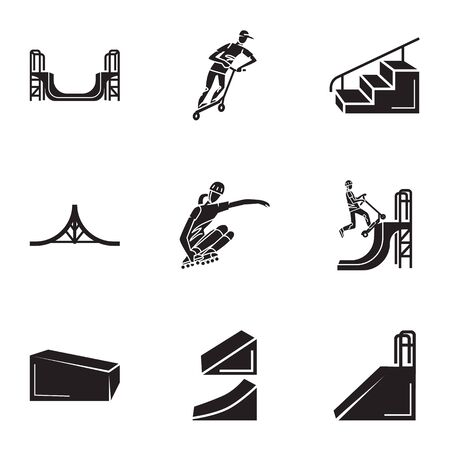 Skate park icon set. Simple set of 9 skate park icons for web design isolated on white background Stok Fotoğraf