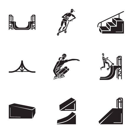 Skate park icon set. Simple set of 9 skate park icons for web design isolated on white background Banco de Imagens