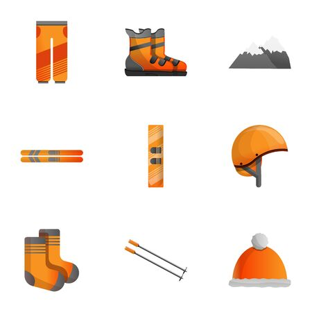 Ski equipment icon set. Cartoon set of 9 ski equipment icons for web design isolated on white background Banco de Imagens