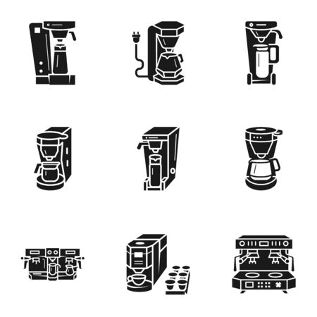 Coffee machine icon set. Simple set of 9 coffee machine icons for web design isolated on white background Banco de Imagens