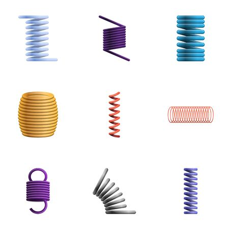 Coil icon set. Cartoon set of 9 coil icons for web design isolated on white background