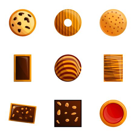 Cookies icon set. Cartoon set of 9 cookies icons for web design isolated on white background Imagens