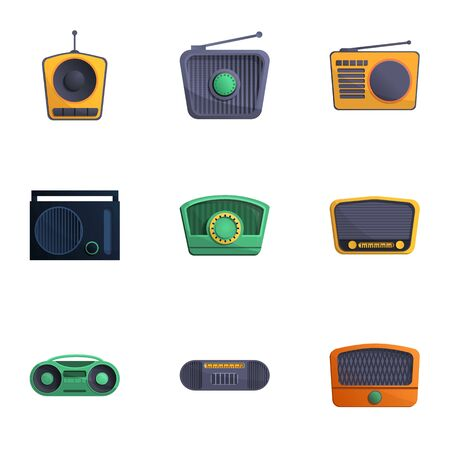 Radio icon set. Cartoon set of 9 radio icons for web design isolated on white background