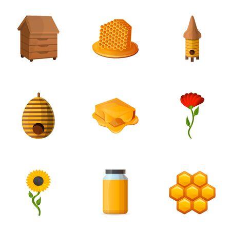 Honey icon set. Cartoon set of 9 honey icons for web design isolated on white background