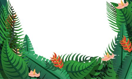 Tropical leafs concept banner. Cartoon illustration of tropical leafs concept banner for web design Фото со стока