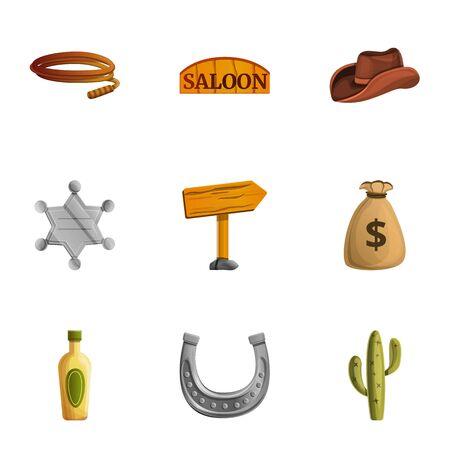 Cowboy tools icon set. Cartoon set of 9 cowboy tools icons for web design isolated on white background