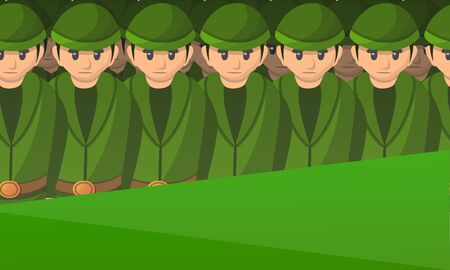 Army soldiers concept banner. Cartoon illustration of army soldiers concept banner for web design Фото со стока