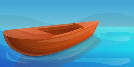 Wood boat lake concept banner. Cartoon illustration of wood boat lake concept banner for web design 写真素材