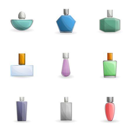 Perfume bottle icon set. Cartoon set of 9 perfume bottle icons for web design isolated on white background