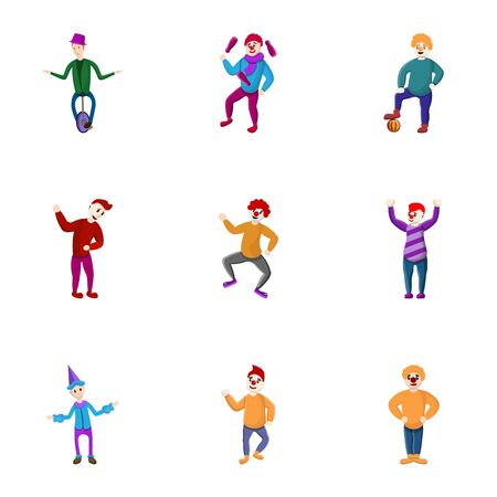 Clown icon set. Cartoon set of 9 clown icons for web design isolated on white background Stock Photo