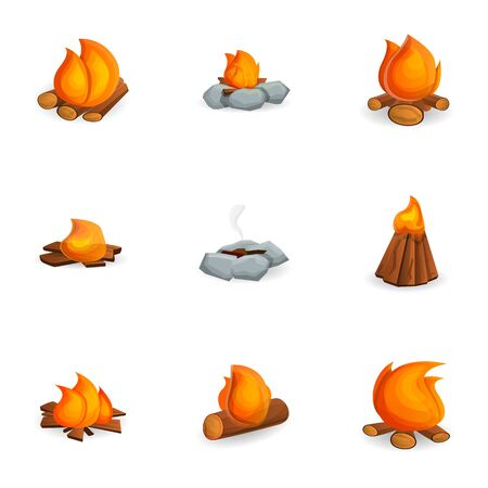 Campfire icon set. Cartoon set of 9 campfire icons for web design isolated on white background