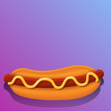 Hot dog concept background. Cartoon illustration of hot dog concept background for web design