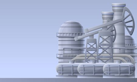 Oil refinery plant concept banner. Cartoon illustration of oil refinery plant concept banner for web design