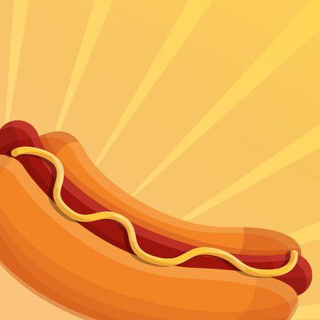 Tasty hot dog concept background. Cartoon illustration of tasty hot dog concept background for web design