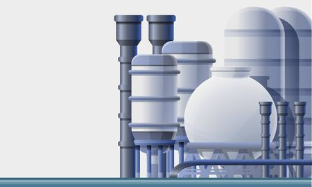 Oil refinery factory concept banner. Cartoon illustration of oil refinery factory concept banner for web design Фото со стока