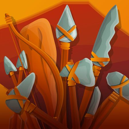 Stone age armor concept background. Cartoon illustration of stone age armor concept background for web design Stok Fotoğraf