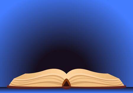 Open old book concept banner. Cartoon illustration of open old book concept banner for web design