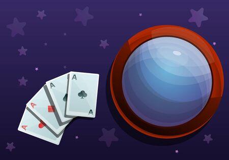 Magic cards concept banner. Cartoon illustration of magic cards concept banner for web design