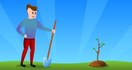 Man volunteer concept banner. Cartoon illustration of man volunteer concept banner for web design Reklamní fotografie