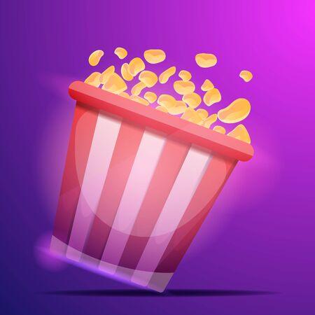 Cinema popcorn bag concept background. Cartoon illustration of cinema popcorn bag concept background for web design