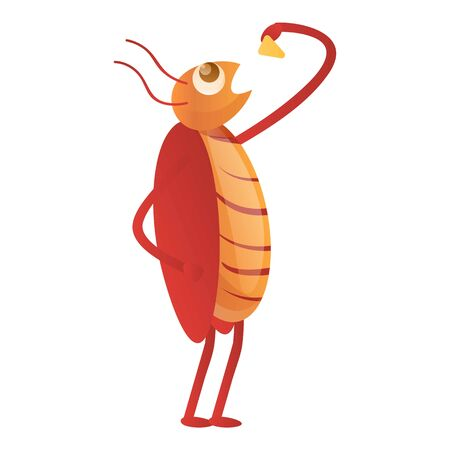 Cockroach eating icon. Cartoon of cockroach eating icon for web design isolated on white background