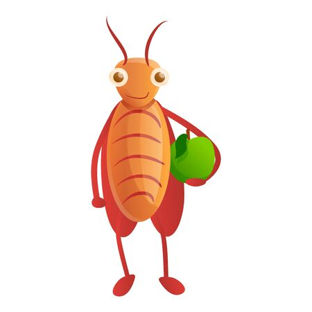 Cockroach with green apple icon. Cartoon of cockroach with green apple icon for web design isolated on white background