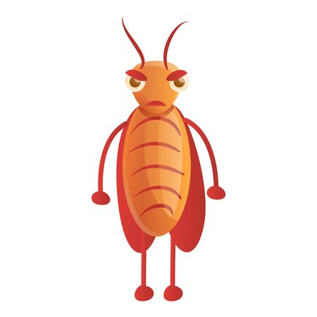 Angry cockroach icon. Cartoon of angry cockroach icon for web design isolated on white background