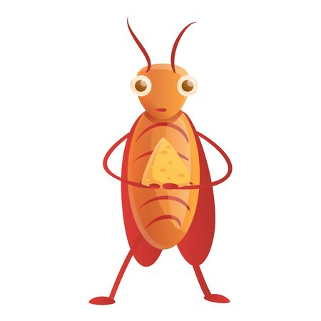 Cockroach eat cheese icon. Cartoon of cockroach eat cheese icon for web design isolated on white background