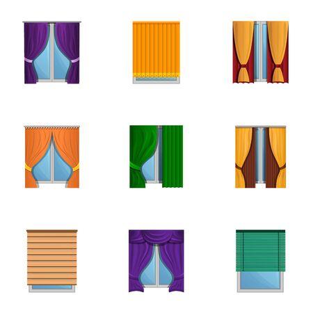 Window blind icon set. Cartoon set of 9 window blind icons for web design isolated on white background Zdjęcie Seryjne