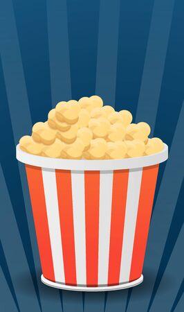 Popcorn bag concept banner. Cartoon illustration of popcorn bag concept banner for web design