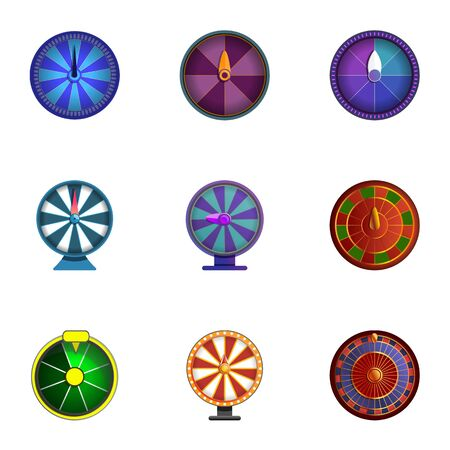 Lucky wheel icon set. Cartoon set of 9 lucky wheel icons for web design isolated on white background