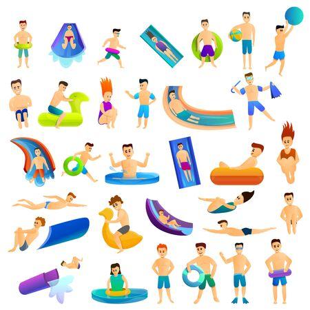 Aquapark icons set. Cartoon set of aquapark icons for web design Stock Photo