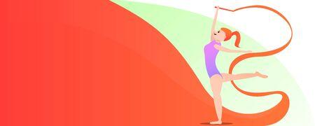 Sport gymnastics concept banner. Cartoon illustration of sport gymnastics concept banner for web design 版權商用圖片