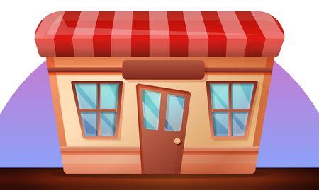 Street shop concept banner. Cartoon illustration of street shop concept banner for web design