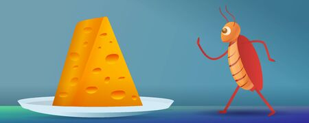 Cockroach going to cheese piece concept banner. Cartoon illustration of cockroach going to cheese piece concept banner for web design Фото со стока