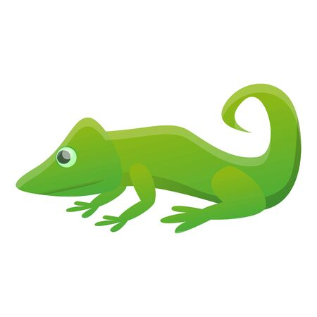 Green reptile icon. Cartoon of green reptile icon for web design isolated on white background Stockfoto