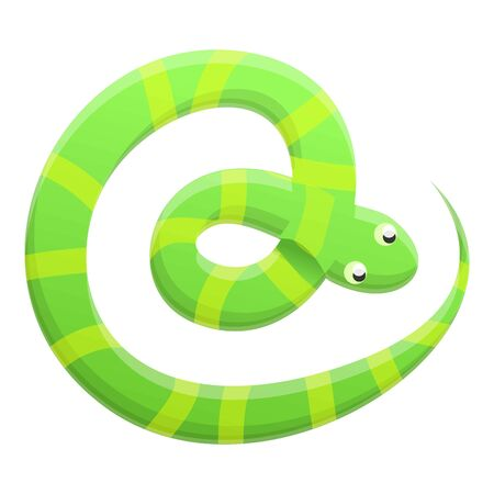 Striped snake icon. Cartoon of striped snake icon for web design isolated on white background