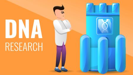 Modern dna research concept banner. Cartoon illustration of modern dna research concept banner for web design Фото со стока - 131392472