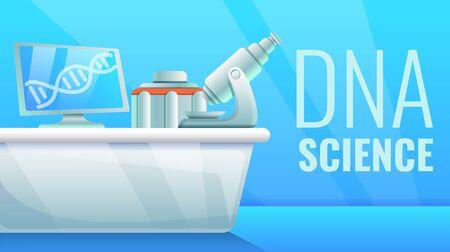 Dna science concept banner. Cartoon illustration of dna science concept banner for web design