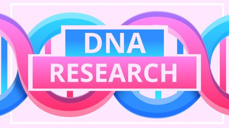 Dna research concept banner. Cartoon illustration of dna research concept banner for web design