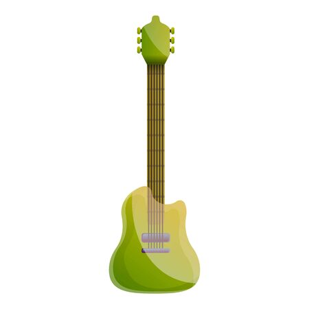 Green guitar icon. Cartoon of green guitar icon for web design isolated on white background Stock Photo