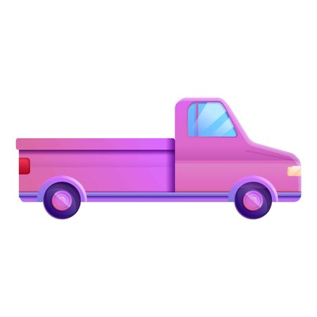 Pink colorful pickup icon. Cartoon of pink colorful pickup icon for web design isolated on white background Stock Photo