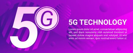5g mobile phone concept banner. Cartoon illustration of 5g mobile phone concept banner for web design