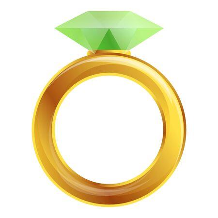 Diamond ring icon. Cartoon of diamond ring icon for web design isolated on white background Фото со стока