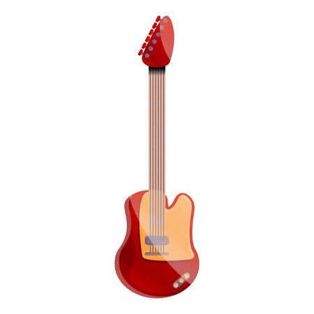 Red electric guitar icon. Cartoon of red electric guitar icon for web design isolated on white background