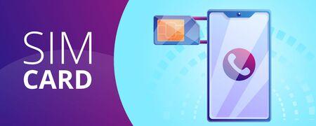 Phone sim card concept banner. Cartoon illustration of phone sim card concept banner for web design Stockfoto